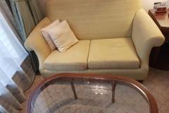 glass table and sofa